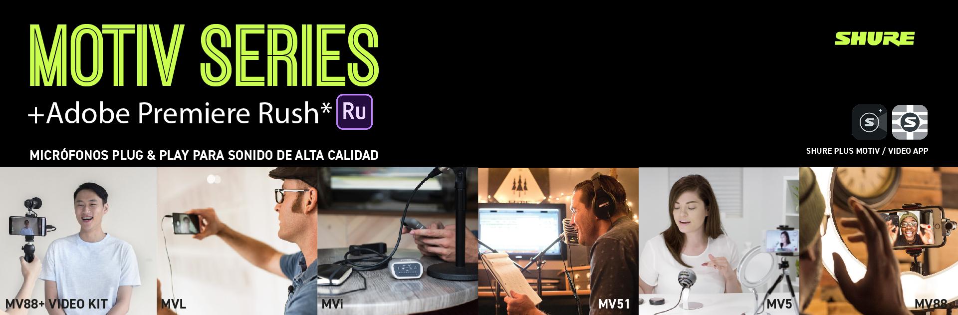 micrófonos SHURE MOTIV + Adobe Premiere Rush